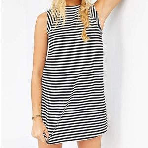 Urban Outfitters Striped Swing Dress Mock Neck S